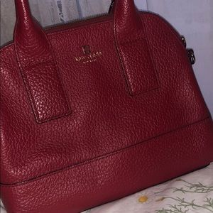 KATE SPADE RED LEATHER SATCHEL BAG